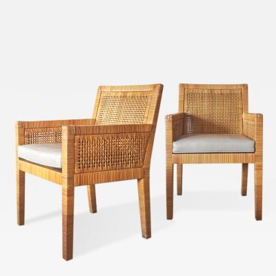 Billy Baldwin Pair of Rattan Armchairs