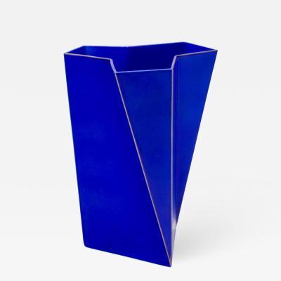 Bing Grondahl Heiberg Bing Grondahl Geometric Blue Porcelain Futura Vase by Else Kamp Denmark 1980s