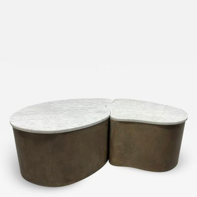 Biomorphic Grasscloth and Carrara Marble Top Coffee Table