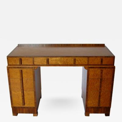 Birds Eye Maple and Walnut Art Deco Desk