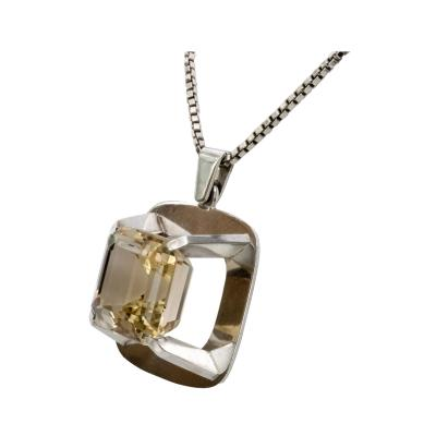 Birger Lindgren Birger Lindgren Silver Pendant with Citrom Quartz Stockholm 1967