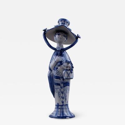 Bj rn Wiinblad Bjorn Wiinblad unique ceramic figure Autumn in blue seasons dated 1976