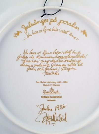 Bj rn Wiinblad Christmas plate in porcelain from 1986