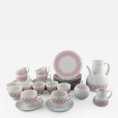 Bj rn Wiinblad Pink Lotus porcelain coffee service for twelve persons