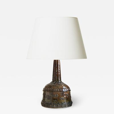 Bjorn Wiinblad Bj rn Wiinblad Table lamp with folk ornamentation by Bjorn Wiinblad