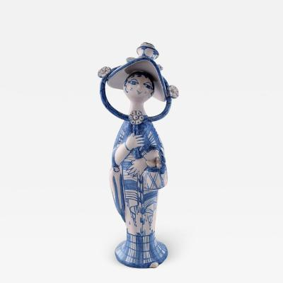 Bjorn Wiinblad Bj rn Wiinblad Unique ceramic figure Autumn in blue Seasons Signed and dated