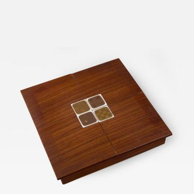 Bjorn Wiinblad Rosenthal Rosewood Box with Bjorn Windblad Porcelain Tiles 1960s