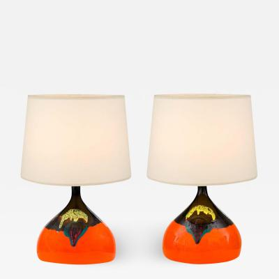 Bjorn Wiinblad Signed Orange Ceramic Table Lamps for Rosenthal Denmark 1960s