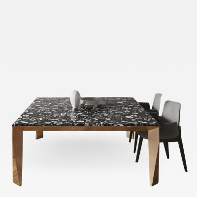Black Agate Grand Architechtonic Dining Table Hand Sculpted by Element Co