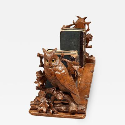 Black Forest Adjustable Book Rack with Carved Owls