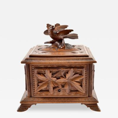 Black Forest Hand Carved Box C A 1900s