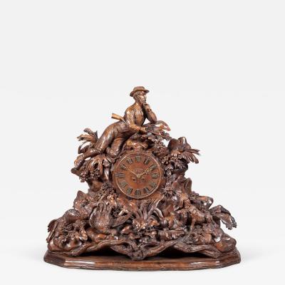 Black Forest Large 19th Century Carved Black Forest Mantel Clock