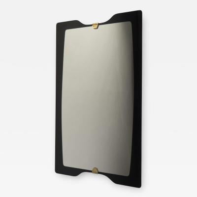 Black Glass Framed Mirror Italy 1960s