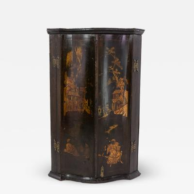 Black Gold Chinoiserie Corner Cupboard With Painted Interior English ca 1820