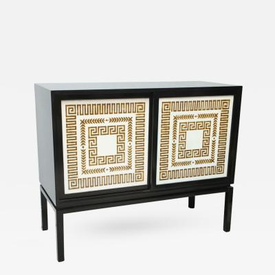 Black Lacquer Credenza with Sliding Doors Hollywood Regency
