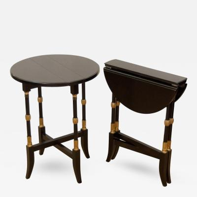 Black Lacquer Regency Style Folding Occasional Tables from the Fontainebleau