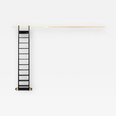 Black Lacquered Book Case Ladder on Brass Rail