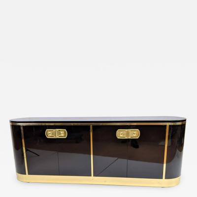 Black Lacquered Credenza Side Board by Mastercraft