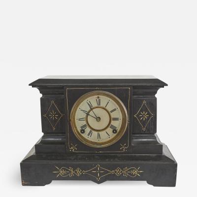 Black Marble Gilt Ansonian Mantel Desk Clock
