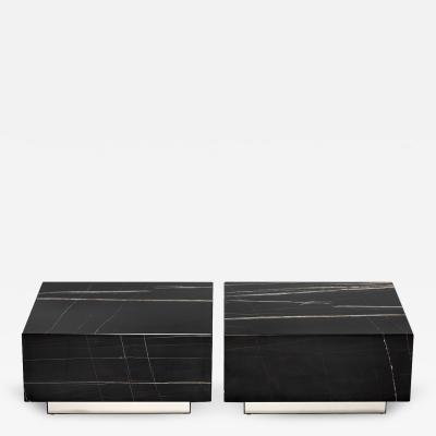 Black Marble Pair of Cockail Tables
