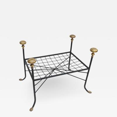 Black Metal Bench Stool with Brass Finials and Claw Feet
