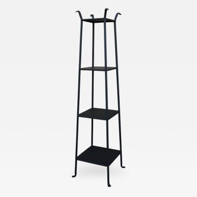 Black Metal Etagere with Graduated Shelves