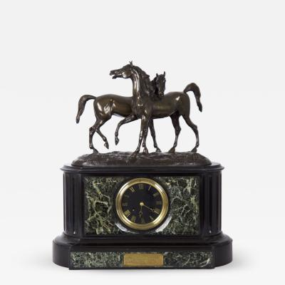 Black Slate Marble Mantel Clock with Equestrian Sculpture Group