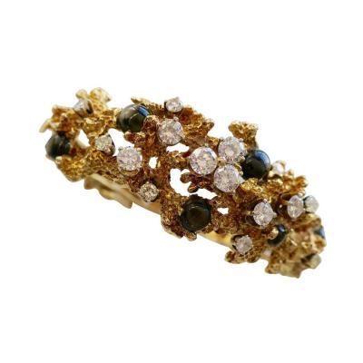 Black Star Sapphire and Diamond Free Form Bracelet circa 1970