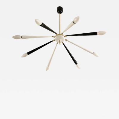 Black and White Articulating Chandelier Italy 1960s