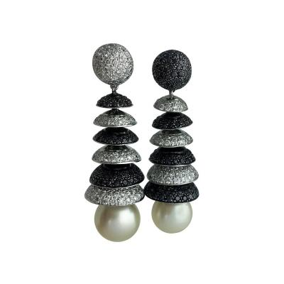 Black and White Diamond and Pearl Ear Pendants