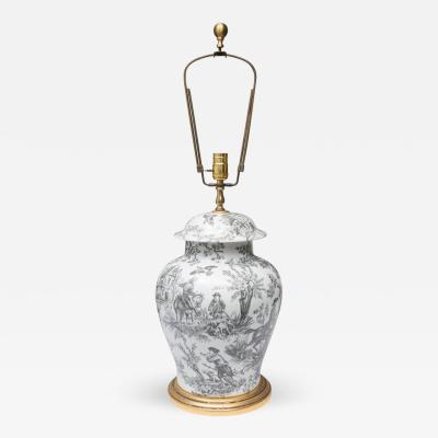 Black and White French Toile Motif Lamp