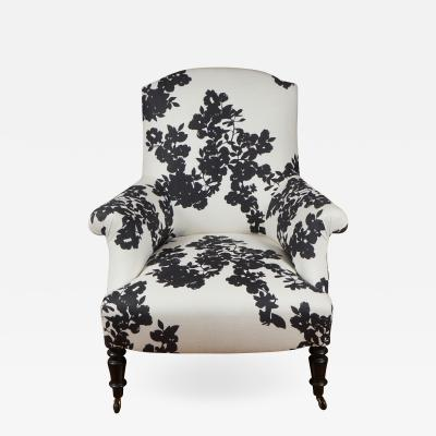 Black and White Upholstered Club Chair