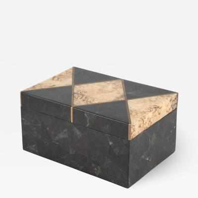Black and beige marble box with brass trim circa 1980s