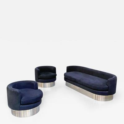 Black and navy blue velvet living room set 1970s