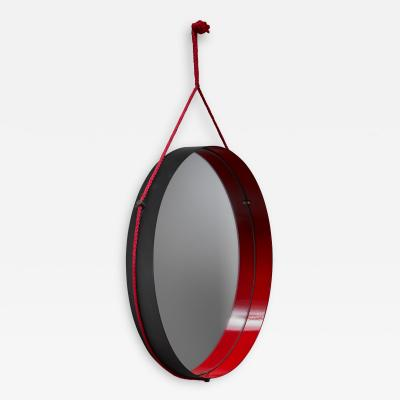 Black and red enamel metal wall mirror Italy