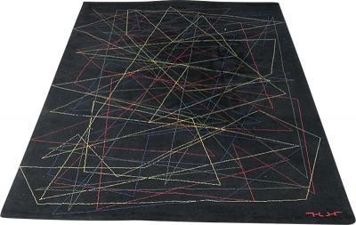 Black wool rug with geometric pattern 1980s