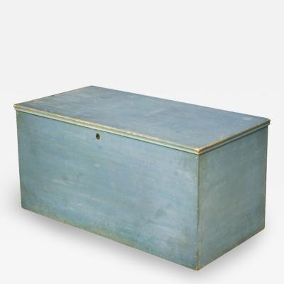 Blanket Box with Original Dry Blue Paint New England Circa 1825 1840