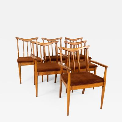 Blowing Rock Mid Century Walnut Dining Chairs Set of 6