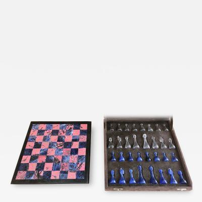 Blu Marble and Art Glass Chess Game Set Italy ca 1970s