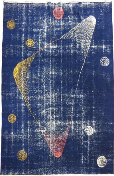 Blue Galaxy Shabby Chic Turkish Deco Rug rug no r5176