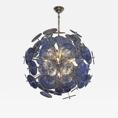 Blue Glass Sputnik Chandelier