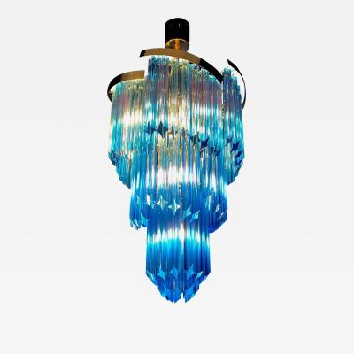 Blue Heavenly Murano Prism Chandelier with Golden Frame circa 2000