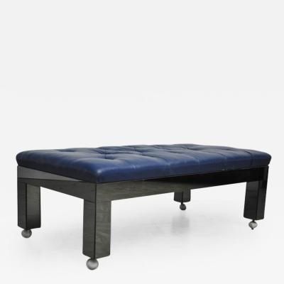 Blue Leather and Mirror Clad Bench
