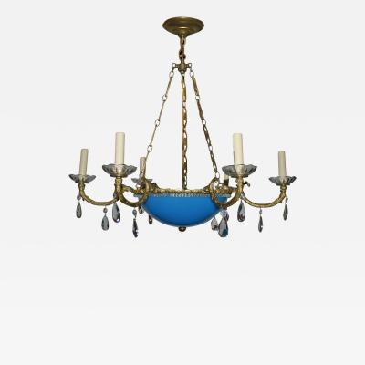 Blue Opaline Glass Bronze Chandelier