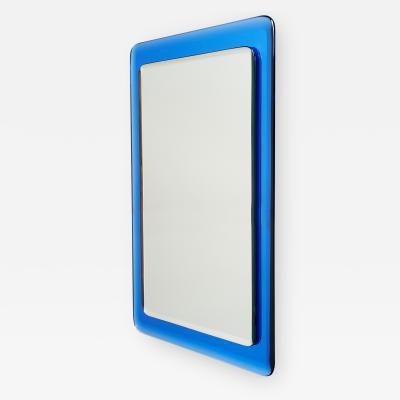 Blue Reverse Beveled Mirror Italy 1970s