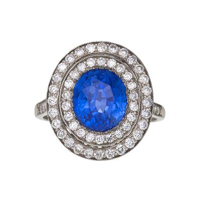 Blue Sapphire Diamond and Platinum Halo Ring