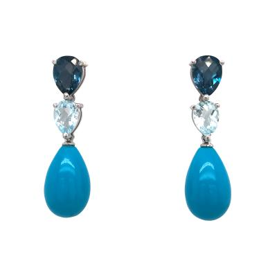 Blue Topaz London Topaz and Turquoise on Gold 18 Carat Chandelier Earrings