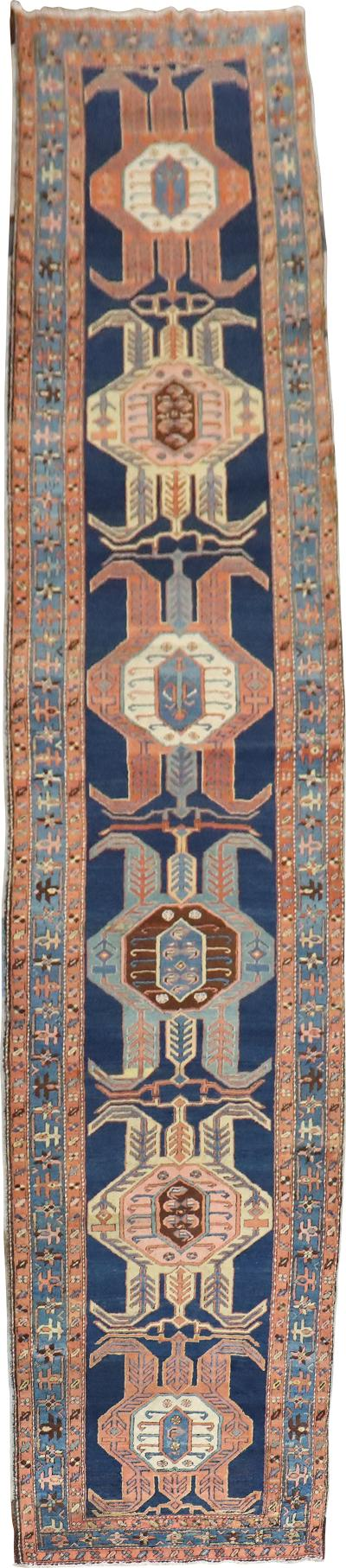 Blue Tribal Serapi Heriz Runner rug no j1988
