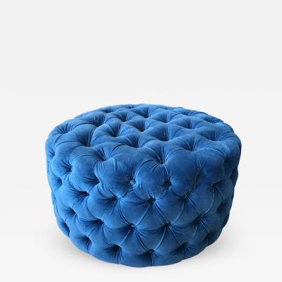 Blue Tufted Velvet Round Ottoman Custom