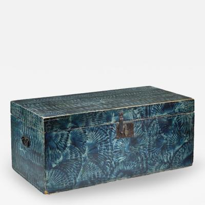 Blue Vinegar Grained Trunk New England Circa 1840